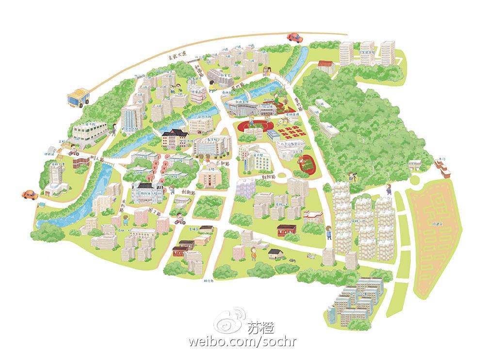 可爱漫画手绘地图南京